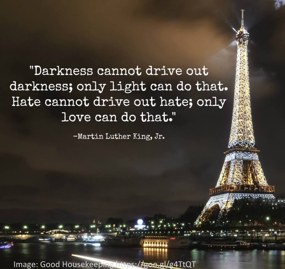 """Quote from Martin Luther King """"Darkness cannot drive out darkness, only light can do that. Hate cannot drive out hatred, only love can do that."""""""